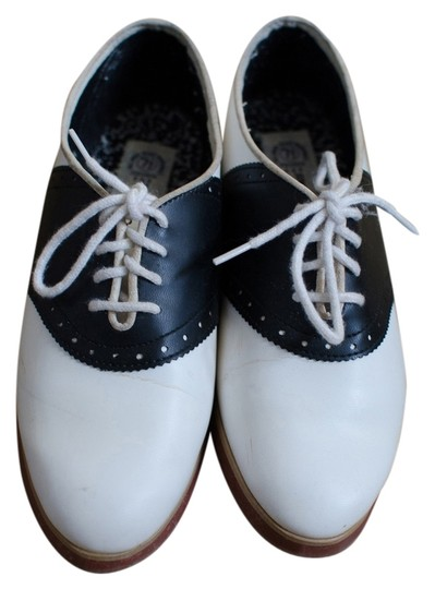Speed Limits Oxford Vintage Retro White and Black Flats