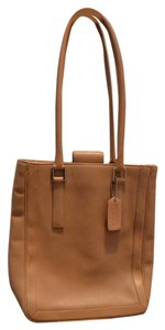 Coach Leather Shopper Tote in Camel