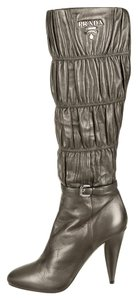 Prada Leather Textured Tall Silver Boots