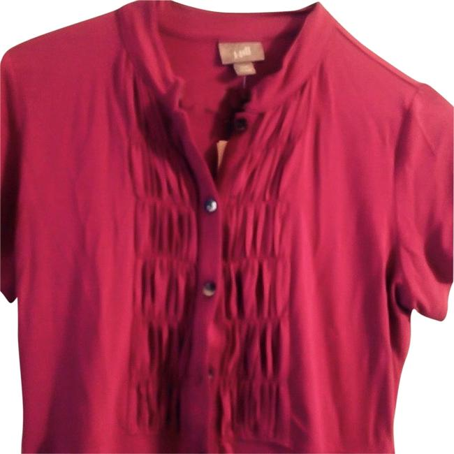 J. Jill Wine Berry With Tucks Tunic Size 2 (XS) J. Jill Wine Berry With Tucks Tunic Size 2 (XS) Image 1