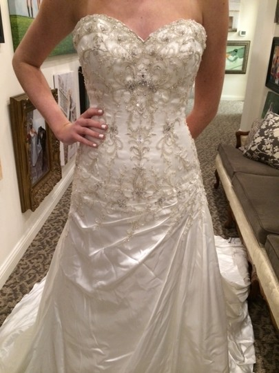 Sottero and Midgley Ivory/Pewter Satin Adara Modern Wedding Dress Size 10 (M)