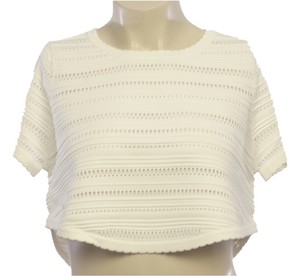 Torn by Ronny Kobo Knit Crop Scalloped T Shirt