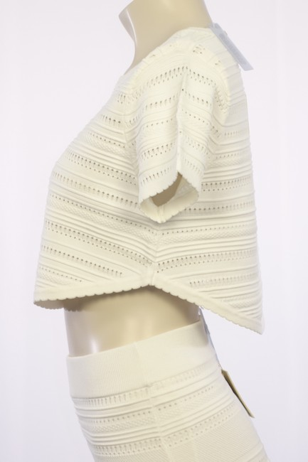 Torn by Ronny Kobo Knit Crop Scalloped Textured T Shirt