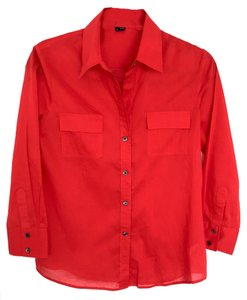 Theory Blouse Blouse Button Down Shirt Red