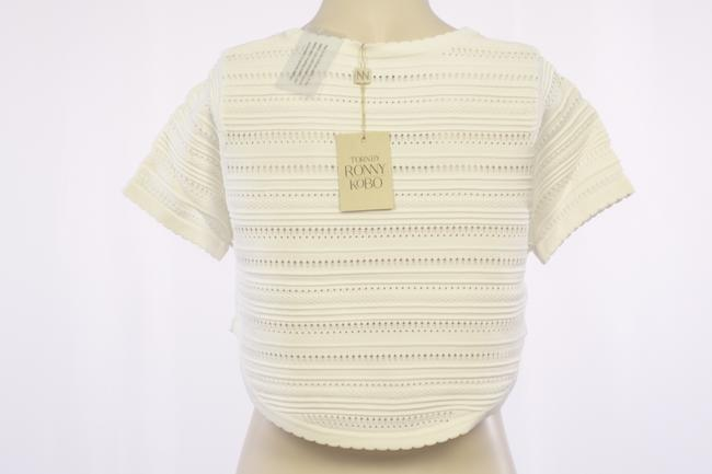 Torn by Ronny Kobo Textured Knit Scalloped Crop T Shirt