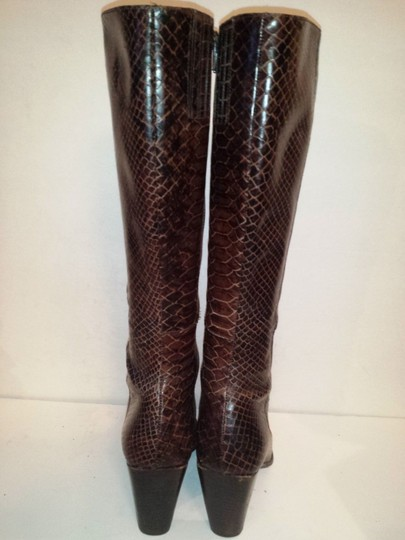 Enzo Angiolini Tory Burch Coach Kate Spade Embossed Leather Snakeskin Effect Brown Boots