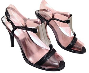 Calvin Klein Rebel Black Patent Leather Sandals