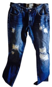 Paper Denim & Cloth Frayed Boot Cut Jeans-Distressed