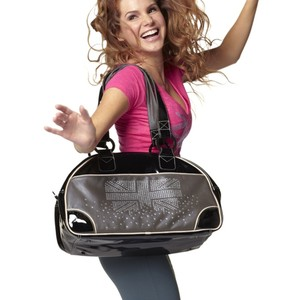 Zumba Fitness Dance Gear Studded Crystals Black Silver Pink Travel Bag