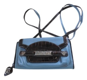 Brighton Leather Pebbled Patent Leather Logo Cross Body Bag