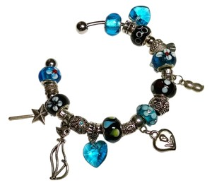 New European Charm Bracelet +20 Charms removable Blue Black Silver Bangle J1171