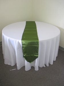 4 Moss Green Satin Table Runners
