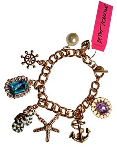 Betsey Johnson Betsey Johnson Charm Bracelet Starfish Anchor Seahorse Crystals Gold J1172