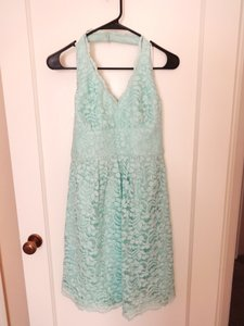David's Bridal Mint (blue/green) Short Halter Lace Dress Style F15623 Dress