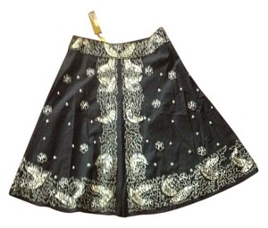 Catherine Malandrino Skirt black with flower beaded