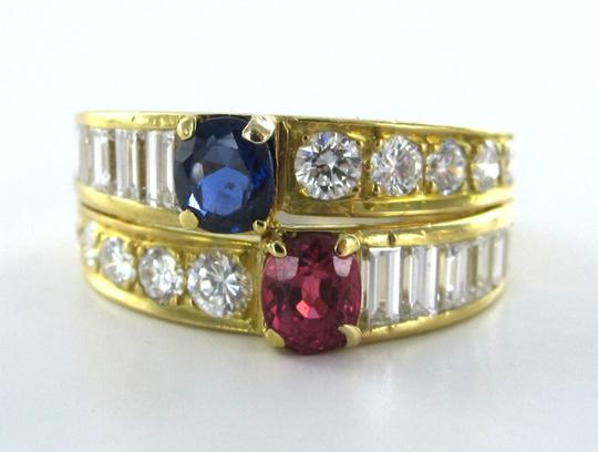 Other 18K KARAT YELLOW GOLD RING 22 DIAMOND COCKTAIL BAND 4.3DWT RUBY SAPPHIRE SZ 5.5