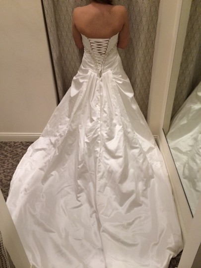 House of Wu Ivory/Silver Satin 18730 Modern Wedding Dress Size 12 (L)