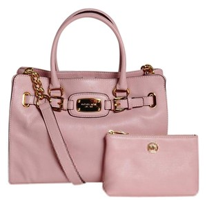 Michael Kors Tote Leather Large Gold Tone Hardware Crossbody Strap Satchel in Pink, Blossom