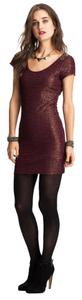 Free People short dress Plum/Gold Beaded Designer on Tradesy