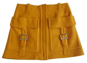 Sonia Rykiel Cashmere Wool Lined Mini Skirt Gold Yellow