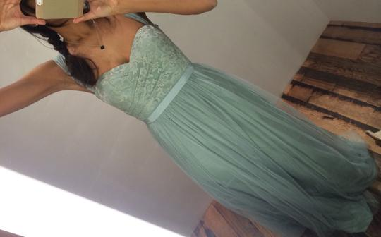 BHLDN Sea Glass Green Gold-flecked Lace and Tulle Juliette 33258849 Feminine Bridesmaid/Mob Dress Size 2 (XS) Image 1