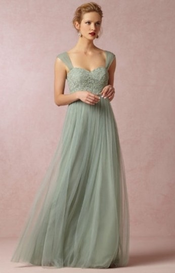 BHLDN Sea Glass Green Gold-flecked Lace and Tulle Juliette 33258849 Feminine Bridesmaid/Mob Dress Size 2 (XS) Image 2