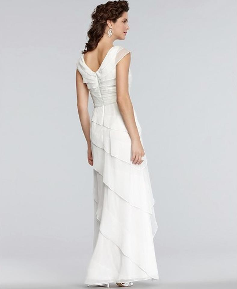 Adrianna Papell Ivory Polyester Empire Waist Tiered Gown Casual ...