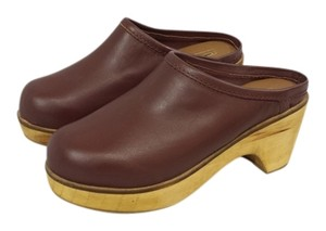 Urban Outfitters Leather Wooden Wine Mules