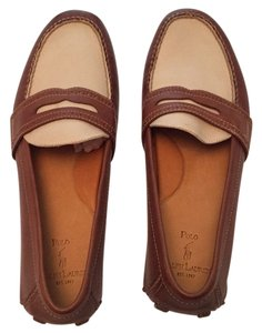 Ralph Lauren Tan leather with cream top. Flats