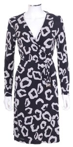 Diane von Furstenberg short dress Dvf Terrazzo Black & White Silk Leopard Wrap on Tradesy