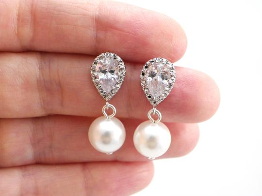 White/Ivory Pearl Swarovski Pearls Cubic Zirconia Sterling Silver Posts Bridesmaid Gift Earrings Image 1
