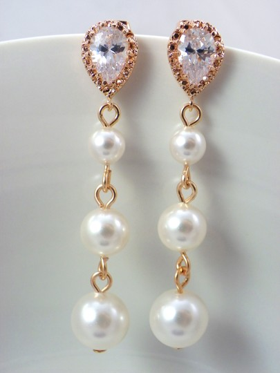 White Rose Gold Pearl Swarovski Pearls Cubic Zirconia Sterling Silver Posts Pink Gold Gift Earrings