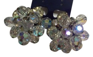 Vintage Clear Cluster Clip On Earrings