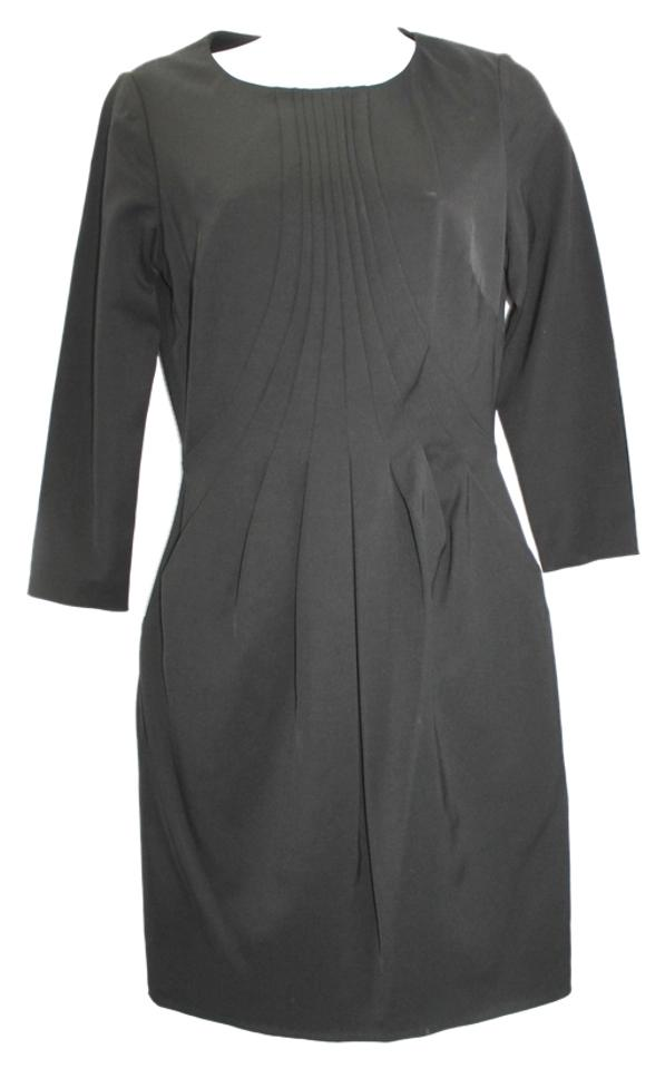 Reiss Pleated Front Black Knee Length Workoffice Dress Size 4 S