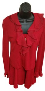 St. John St John evening 2pc formal skirt suit Sz 6 Bright red