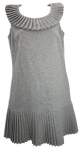 Betsey Johnson Pleated Wool Gray Dress