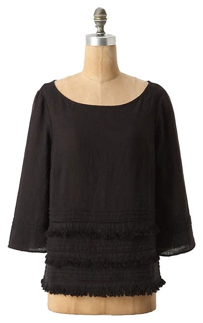 Anthropologie Linen Tassels Top black