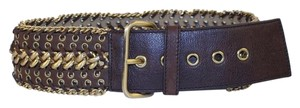 Prada [ENTERPRISE] Woven Chain Grommet Leather Belt Sz 34 PRGR01