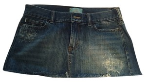 Hollister Distressed Mini Micro-mini Mini Skirt Denim