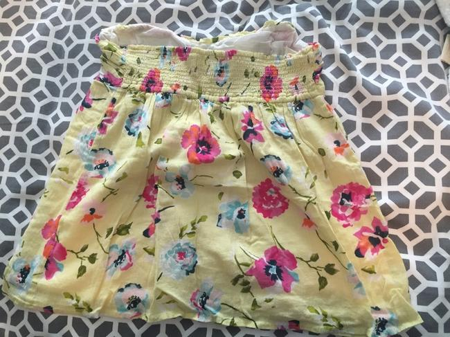 Abercrombie & Fitch Floral Strapless Babydoll Empire Waist Sweatheart Top Yellow