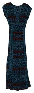 Blue, black, orange Maxi Dress by Forever 21 Tribal Print