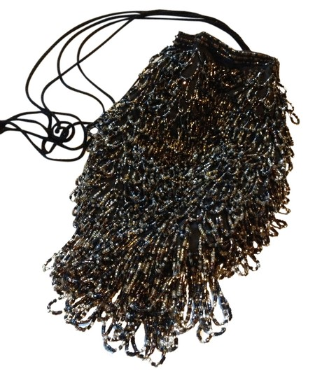 Clovis ruffin Be Beaded Embellished Party Tassels Wristlet in Black and gold