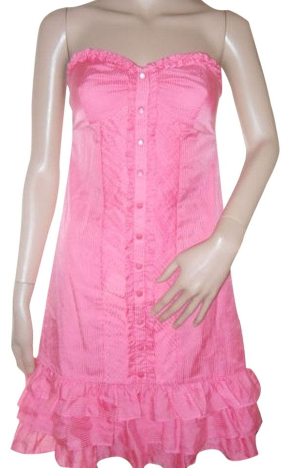 aee95c0559b Kensie Bright Pink Summer Strapless Short Casual Dress Size 6 (S ...