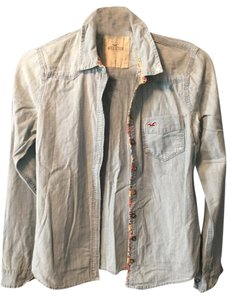Hollister Floral Comfortable Button Down Shirt Denim
