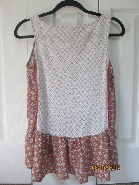 Anthropologie Peplum Flounce Patterned Floral Anthro Top Beige / Tan