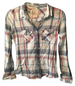 Hollister Sheer Button Down Shirt Plaid