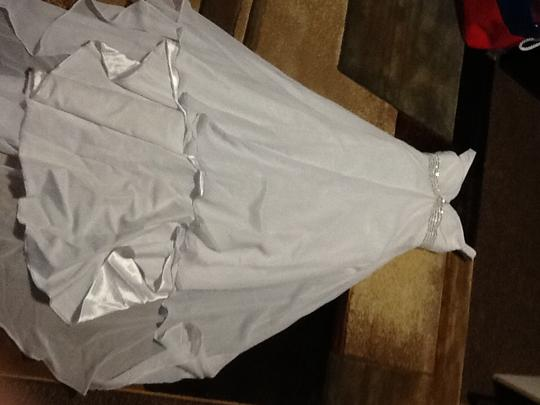 White Satin Chiffon Taffeta Handmade Feminine Wedding Dress Size 4 (S)