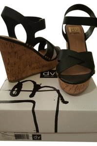 Dolce Vita Black Leather Wedges