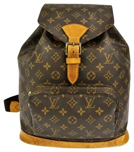 Louis Vuitton Gm Monogram Canvas Leather Totes School Travel Backpack