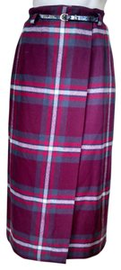 Eddie Bauer Plaid Wool Wrap Skirt Red